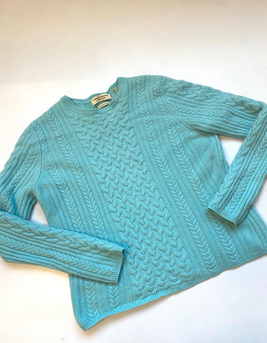 Cashmere Cable Knit sweater in baby blue