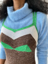 Load image into Gallery viewer, 70s italian knit  tank dress Brown, green, and white knit