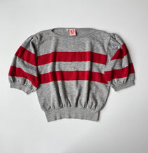 Load image into Gallery viewer, Striped puff sleeve 80s grey n burgundy sweatshirt