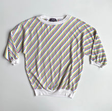Load image into Gallery viewer, Rainbow stripe shirt 80s 3/4 sleeve