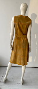 70s suede patchwork dress in mustard