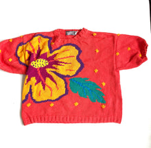 Load image into Gallery viewer, Bright floral cotton knit short sleeve sweater