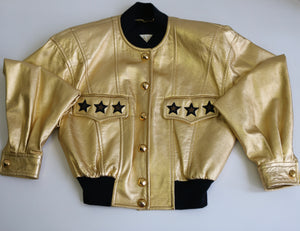 ESCADA gold leather star jacket