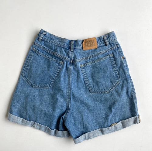 Lightwash Stitched Cuff Denim Shorts w30
