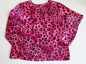 Yves Saint Laurent pink leopard silk blouse