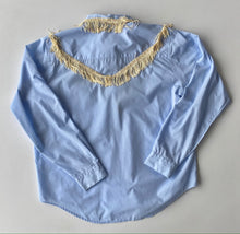 Load image into Gallery viewer, Baby Blue fringe trim button up