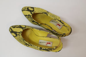 Mondi yellow snakeskin slingbacks