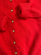 Load image into Gallery viewer, 80s red angora puff sleeve cardigan by Lord and Taylor