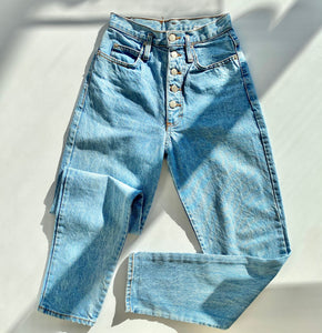 Exposed button fly light wash denim