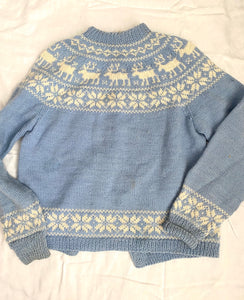 Hand knit In Norway wool intarsia cardigan- pale blue and cream