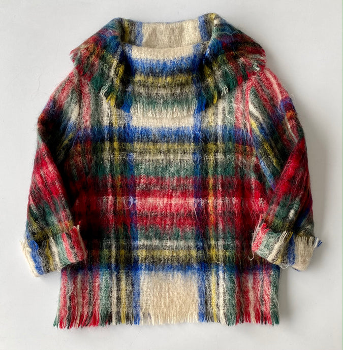 Mohair plaid blanket top