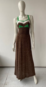 70s italian knit  tank dress Brown, green, and white knit