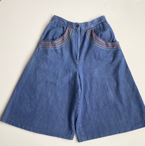 70s denim culottes with embroidered rainbow pockets