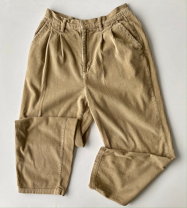 pleated corduroy tan Trousers