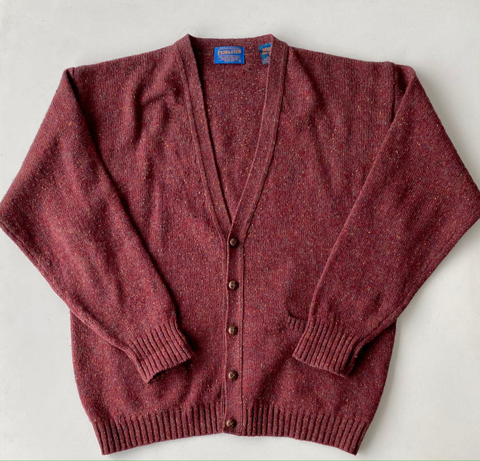 Pendleton Burgundy Speckled Wool Cardigan