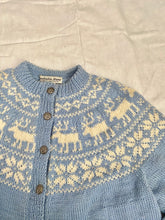Load image into Gallery viewer, Hand knit In Norway wool intarsia cardigan- pale blue and cream