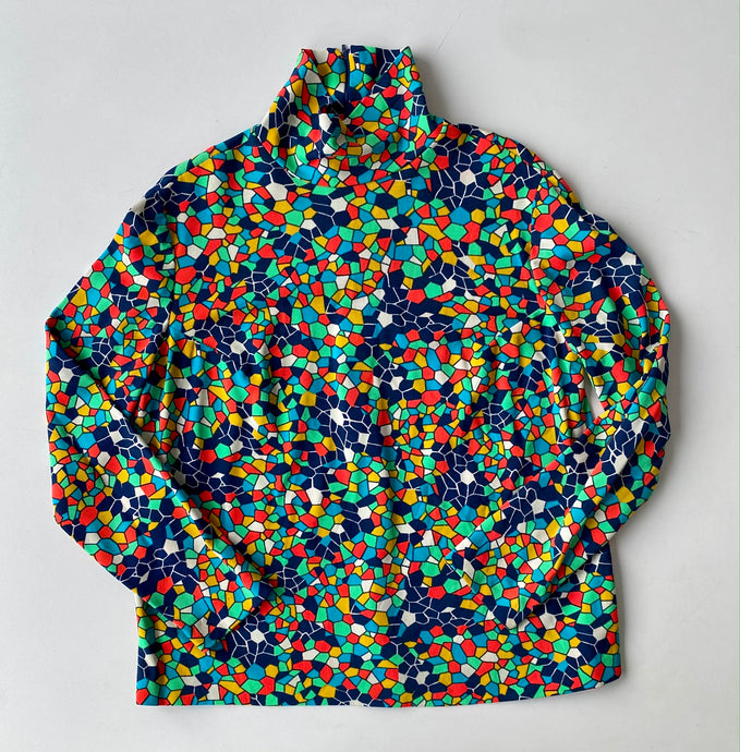 Abstract honeycomb 70s rainbow turtleneck
