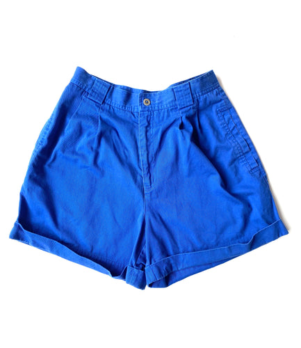 Blue high-waist shorts
