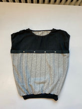 Load image into Gallery viewer, Sleeveless 80s top, heather grey fleece and black`