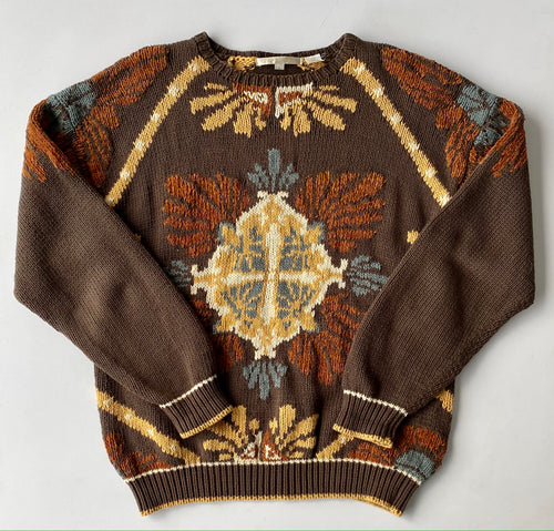 Perry Ellis Cotton Knit Intarsia Sweater