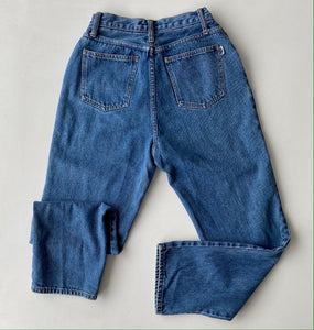 High waisted mid wash denim with Organza Pocket