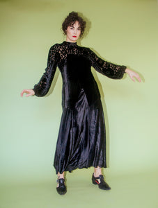 1930s silk velvet dévoré dress