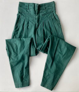 High-waisted pleated green cotton trousers