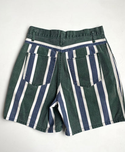 Green and Navy Stripe Denim Shorts