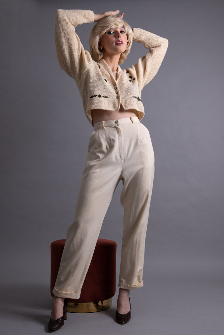 Courrèges cream wool trousers
