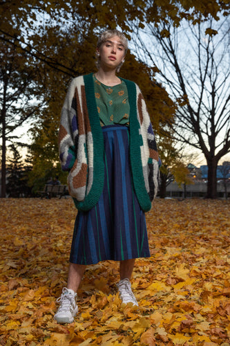 Blue and green herringbone woven wool skirt