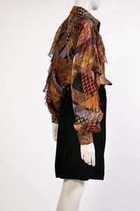 Adrianna Papell Silk multi-print geometric abstract with sheer and gold thread cape overlay and dino ruffle