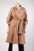 Load image into Gallery viewer, Blush beige puff sleeve light weight smock trench spring coat