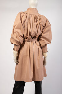 Blush beige puff sleeve light weight smock trench spring coat