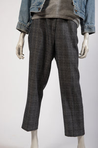 Grey windowpane check trouser