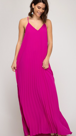 Fuchsia Pleated Maxi