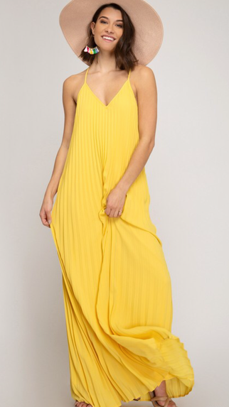 Yellow Pleated Maxi