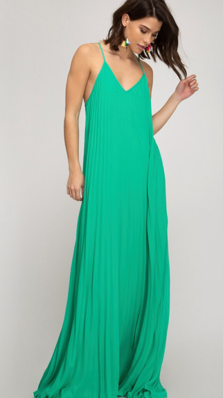 Green Pleated Maxi