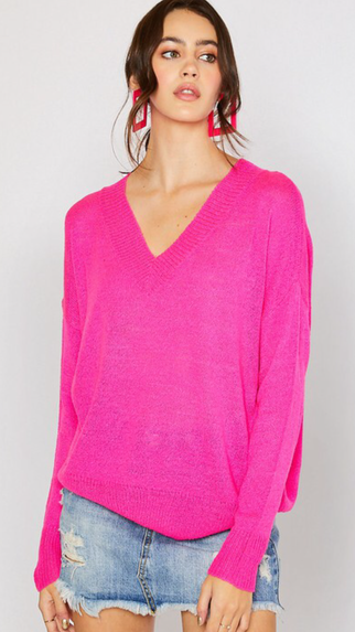 Neon Pink Lightweight Sweater