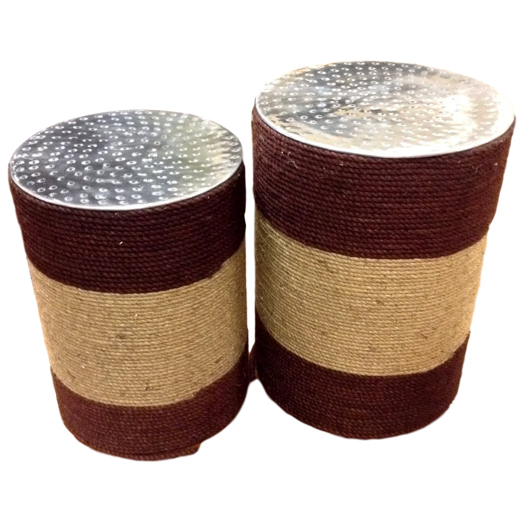 Pair of Two Tone Rope Wrapped Stools