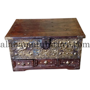 Ornate Antique Wooden Trunk