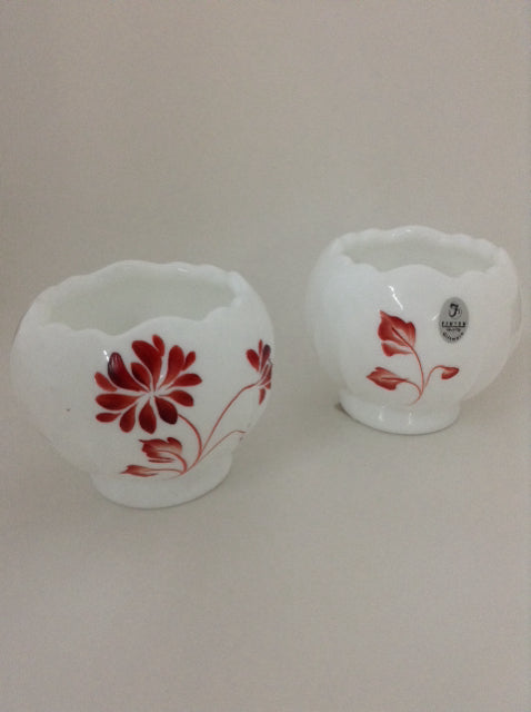 Opaque Glass Painted Votive Set with Red Detail