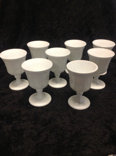 Milk Glass Water Goblet - Set of 8