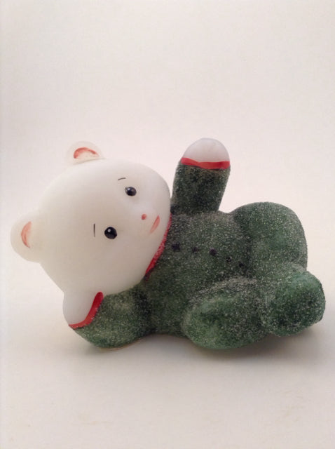 White Opaque Glass Bear w/ Sugared Green Jammies On