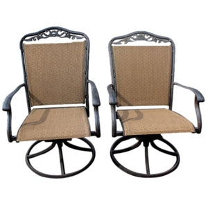 Pair of Black Metal Frame Patio Chairs