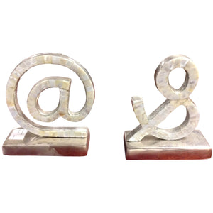@ and & Symbol Bookends - Silver