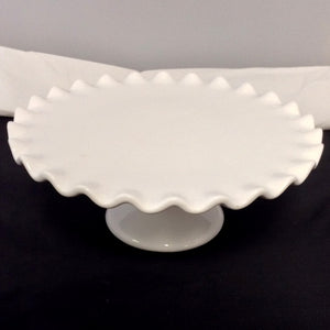 Scalloped White Cake Plate