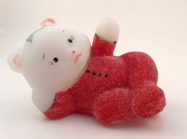 White Opaque Glass Bear w/ Sugared Red Jammies On