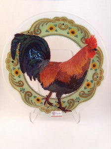 "Peggy Karr 11"" Round Plate - Rooster"