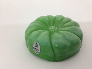 Green Glass Candy Dish with Tomato Detail Top