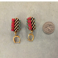 Load image into Gallery viewer, Cylinder Mesh Pink Black Teal Green Earrings with Gold and Silver from India